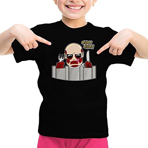 Okiwoki T-Shirt Enfant Fille Noir L'attaque des Titans parodique Le Titan Colossal : A Table !! (Parodie L'attaque des Titans)