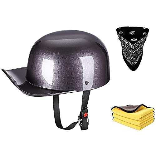 TYYCKJ Helmets Classic Vintage Medio Casco,Casco Moto Jet Abierto Retro,Casco Moto Crucero...