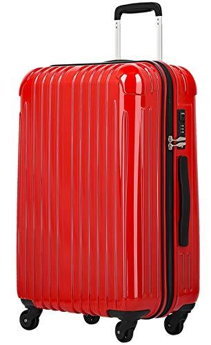 fancywonderland スーツケース TY001 TSAロック ファスナータイプ 2年間修理保証 レッド Sサイズ