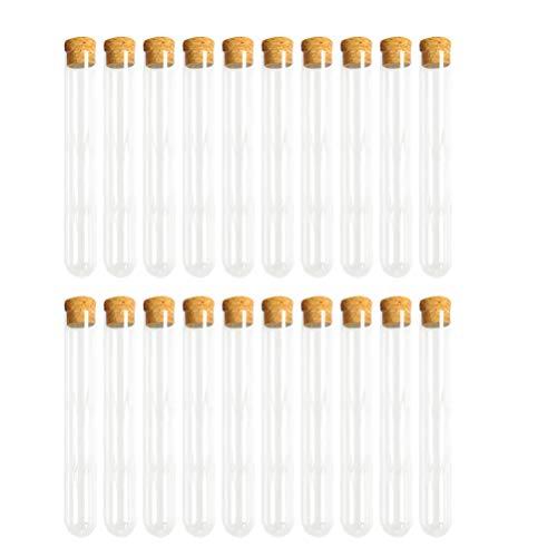 UPKOCH 30pcs Reagenzgläser aus Kunststoff mit Korken Reagenzröhrchen Transparent für Blumen Mandeln Gewürze Salz 7,8 X 1,3Cm