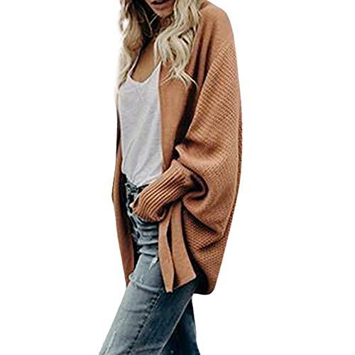 iHENGH Damen Winter Warm Bequem Mantel Lässig Mode Frauen Womens aus der Schulter Pullover lässig gestrickte lose Lange Ärmel Jacke (Khaki,L)
