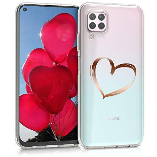 kwmobile Hülle kompatibel mit Huawei P40 Lite - Handyhülle - Handy Case Herz Brush Rosegold Transparent