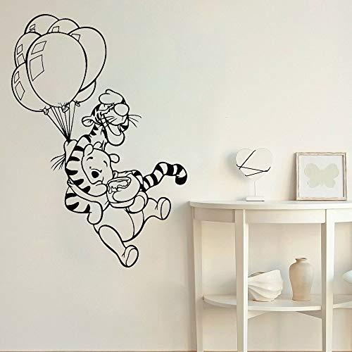 Pegatina de pared de tigre de dibujos animados de Anime, oso de anime, decoración del hogar, pegatina de pared de dibujos animados, decoración de habitación de niños, globo, niño, niña, adolescente