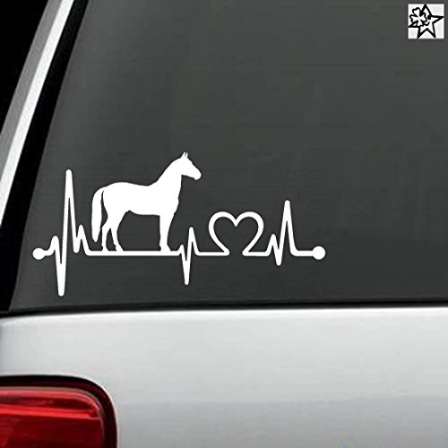 Herzschlag Aufkleber pferde Pferd Horse 30cm Sticker Herz Fan Hobby Leidenschaft Liebe für Auto Autoaufkleber