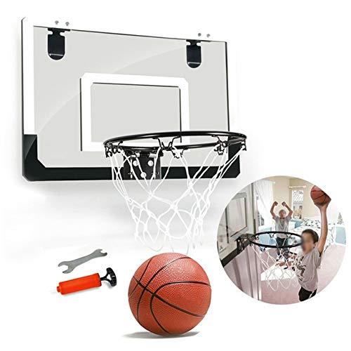 Ruyu Indoor Büro Spielzeug Stahlfelge Shatterproof Rückenbrett mit Kugel Transparent Sport Basketball-Band-Set Mini Rebounds Wandbehang (Color : Black)