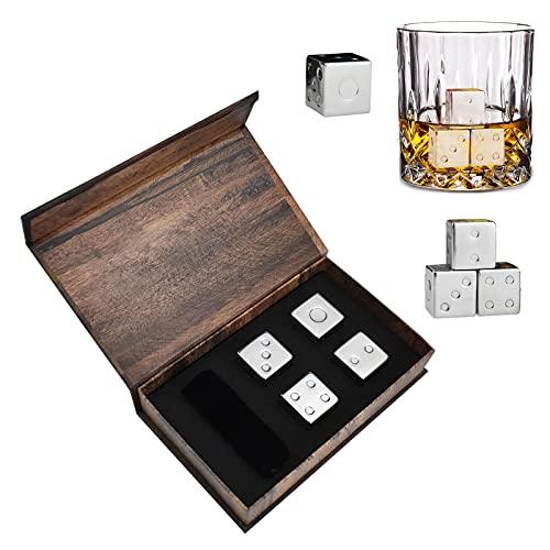 HIOD Cubos de Hielo de Acero Inoxidable con Forma de Dados de 4 Piezas, Piedra de Enfriamiento Reutilizable para Vino de Whisky, Mantiene Su Bebida Fría por Más Tiempo
