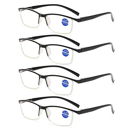 Blauwe computerleesbril, blauw lichtfilter bril voor mannen en vrouwen, veerscharnieren Visuell ondersteunde bril, 4-delig pak Fashion Readers bril Presbyopische glazen