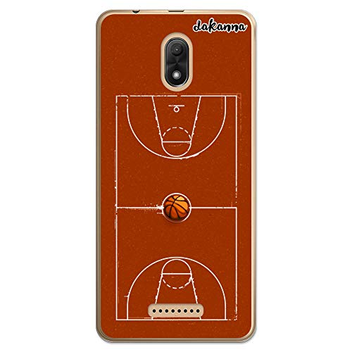 dakanna Funda Compatible con [Wiko Jerry 3] de Silicona Flexible, Dibujo Diseño [Campo y balón de Baloncesto], Color [Borde Transparente] Carcasa Case Cover de Gel TPU para Smartphone