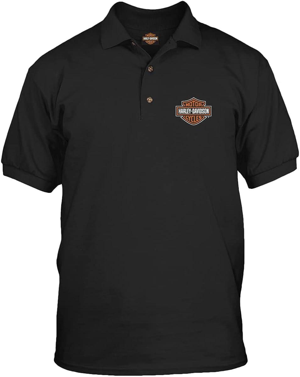 Harley-Davidson Military - Men's Short Sleeve, 3-Button Black Polo Shirt - Bar & Shield   Overseas Tour