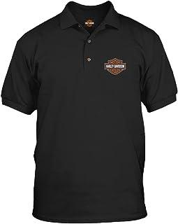 Harley-Davidson Military - Men's Short Sleeve, 3-Button Black Polo Shirt - Bar & Shield | Overseas Tour