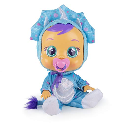 Cry Babies Fantasy Tina, The Blue Dinosaur - Interactive Baby Doll crying Real Tears with dummy - IMC Toys