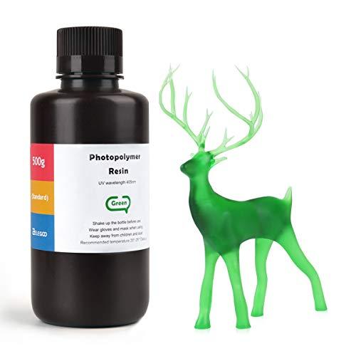 ELEGOO LCD UV 405nm Resina Rapida per Stampante 3D LCD 500g Resina Fotopolimerica Verde(ABS Like)