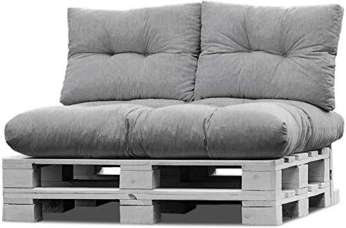 normani Palettenkissen Set Sofa Sitzkissen mit Rückenkissen Outdoor Palettenauflagen (Sitzkissen Gesteppt 120x80) Farbe Hellgrau