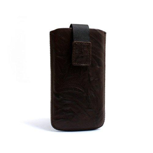 System-S Leder Etui Sleeve Hülle Tasche mit Rückzugfunktion in Braun für Apple iPhone 4 iPod Touch 1G 2G 3G 4G