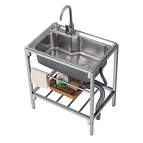 LINGZE Fregadero de cocina comercial del acero inoxidable del solo tazón con el estante del almacenamiento, los 68x44CM