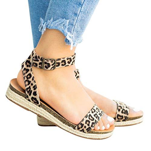 Logobeing Sandalias para Mujer Playa Zapatos de Verano Sandalias con Hebilla de Correa Leopardo Retro Sandalias Peep Toe Sandalias Romanas Chanclas de Damas