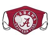 Kcouu Alabama Crimson Tide Masque réutilisable avec valve à air et boucles d'oreilles réglables - Cagoule respirant doux et durable pour les activités de plein air