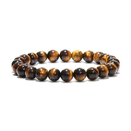 Klassieke natuursteen kraal tijger oog armband 4 maat handgemaakte heren boeddha armband yoga meditatie armband sieraden heren boeddha kralen (Metal Color : 8mm Beads)