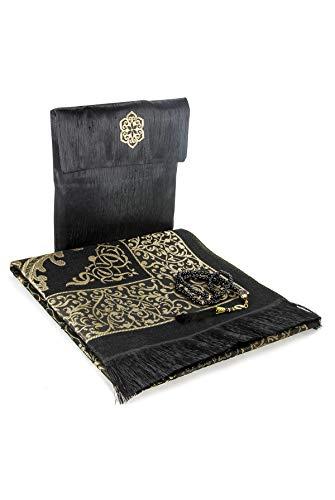 Muslimischer Gebetsteppich und Perlen mit eleganter Slub Stoff-Tasche | Janamaz | Sajjadah | Weiche islamischen Gebetsteppich | Islamische Geschenke | Gebet Teppich Matte, TAFT Stoff, Schwarzer