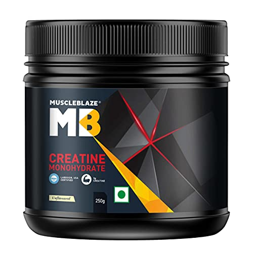 MuscleBlaze Creatine Monohydrate | India's Only Labdoor USA Certified Creatine (Unflavoured, 250 g / 0.55 lb, 83 Servings)