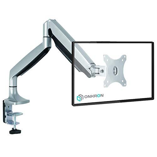 """ONKRON Monitor Tischhalterung 13\""""-32\"""" Zoll für die meisten Monitore VESA 75x75 / 100x100 mm höhenverstellbar schwenkbar neigbar G100 Silber"""