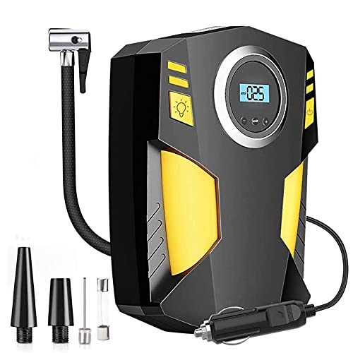 CG Digital Tyre Inflator, Car Tire Pump DC 12V 100PSI Portable Air Compressor for Car SUV Basketballs Inflatables Bicycles Yellow