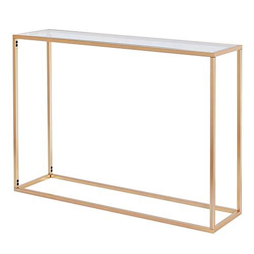 Mesa consola auxiliar de cristal templado moderna de fácil montaje para salón, pasillo, color dorado