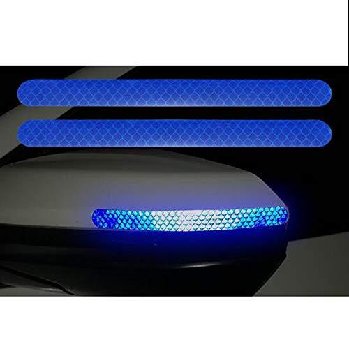 2 adesivi riflettenti per specchietto retrovisore 3D, catarifrangenti, resistenti ai graffi, adesivi riflettenti per auto, adesivi per esterni, impermeabili, catarifrangenti, accessori auto (blu)