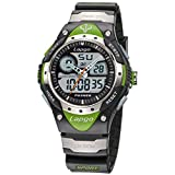 PASNEW Boys Watch Analog Digital Dual Time Watch Waterproof Sports Casual Boys Wrist Watches 388ad Green