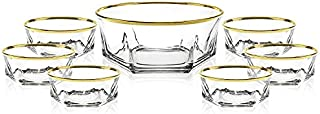 Elegant Luxury Crystal 7 Piece Serving Salad Bowl, Desert, Ice Cream Set with 24k Gold Trim. 1 Large and 6 Small. Made of Fine Imported Glass.
