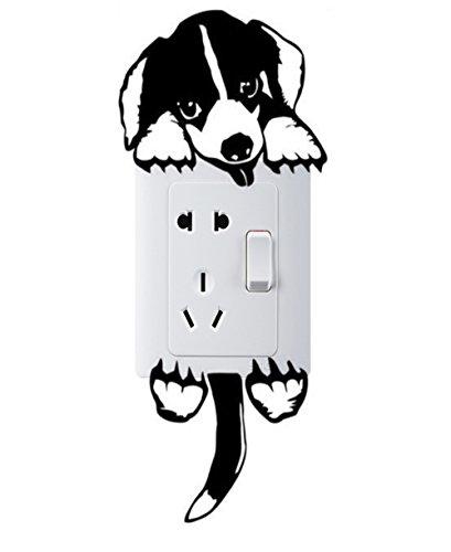 IHRKleid Pegatina de Pared Creativa Decorada Perro para el Enchufe y Interruptor (negro)
