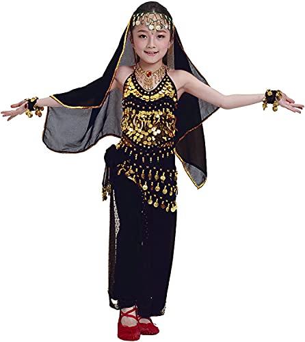 Carnavalife 4 Pcs Nias Traje de Danza de Vientre, Conjunto Disfraz Bailarina India, Top Pantalones Baile Vestidos Talla nica (Negro)