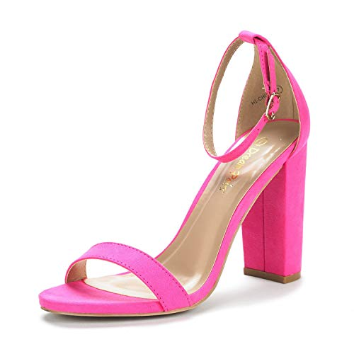 DREAM PAIRS Women's Hi-Chunk Fuchsia Suede High Heel Pump Sandals - 7 M US