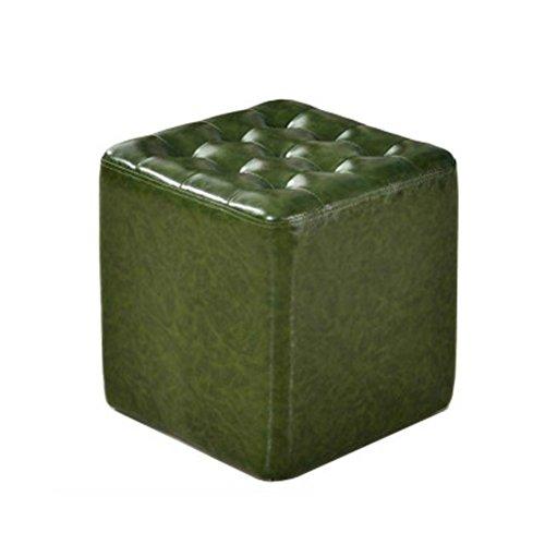 WLL- Tabouret en cuir Canapé Tabouret Tabouret en cuir Tabouret carré Chaussures Banc Table basse Tabouret Salon Petit tabouret Tabouret de maquillage (vert) (Color : Square)