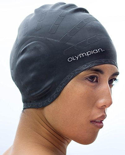 NewYu Fitness Womens Swim Cap for Long Hair, Adult Size, Contoured Comfort Fit Plus to Protect Your Ears and Hair