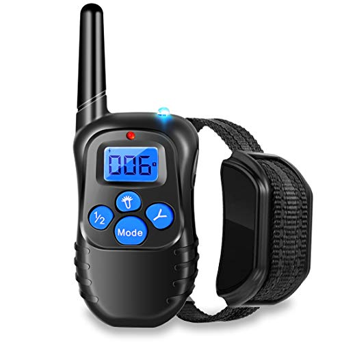 Runpettee Dog Training Collar Vibra Shock Electronic Collar Full Waterproof Rechargeable Remote Dog Training Shock Collar with Vibration, Shock, Tone and Backlight LCD