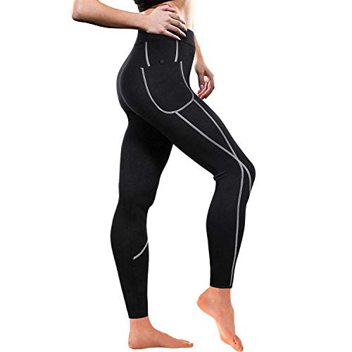 Women Weight Loss Hot Neoprene Sauna Sweat Pants with Side Pocket Workout Slimming Capris Leggings Body Shaper (Full Length Black, XL)