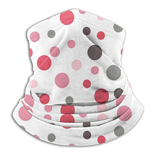 Akhy Multifunctional Headwear Face Mask Headband Neck Gaiter Retro Pink Red Grey Polka Dot Balaclava for Men and Women