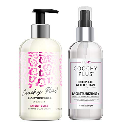 Coochy Plus Intimate Shaving Complete Kit - SWEET BLISS & Organic After Shave Protection Soothing Moisturizer Mist – Antioxidant Formula Prevents Razor Burns, Itchiness & Ingrown Hairs