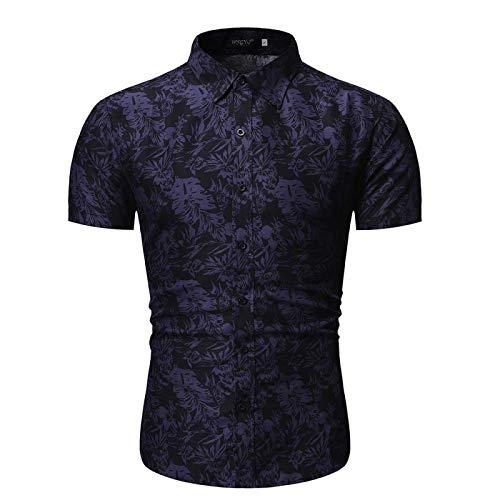 Camisa con Cuello Vuelto para Hombre, Estampado Personalizado, Ajustado, cómodo y Transpirable, Informal, de Manga Corta, Camisa Medium