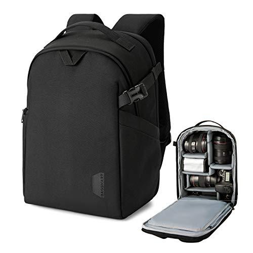 BAGSMART Kamerarucksack, DSLR SLR Kameratasche passend für bis zu 13,3 Zoll Laptop Wasserdicht mit Regenschutz, Stativhalterung für Damen und Herren, Schwarz