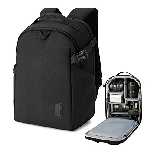 BAGSMART Camera Backpack, DSLR SLR Camera Bag Fits up to 13.3 Inch Laptop Water Resistant with Rain Cover, Tripod Holder for Women and Men, Black