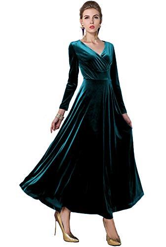 Urbancoco Damen Lange Langarm Abendkleid Maxi V-Ausschnitt Samt Party Kleid (M, Lyons Blau)