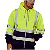 Hoodie For Mens Road Work High Visibility Pullover Thick Warm Zipper Long Sleeve Hooded Sweatshirt Tops Blouse M-4XL