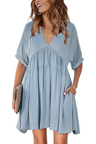 TIKSAWON Womens Cute Juniors V Neck Babydoll Dresses Casual Summer Short Sleeve Loose Flowy Swing Empire Waist Ruffle Shift Mini Dresses Blue L