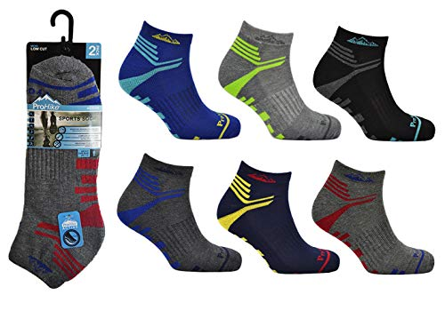 6 Pairs Mens Prohike Multicoloured Cushioned Low Cut Ankle Breathable Trainer Sports Socks For Casual Running Walking Fitness Outdoor Sports UK Size 6 11 UK 6 11 EUR 39 46 US 7 12 Design 5