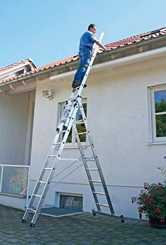 Aluminium multifunctionele ladder 3 x 11 met nivello®-traverse werkhoogte tot ca. 8,90 m.