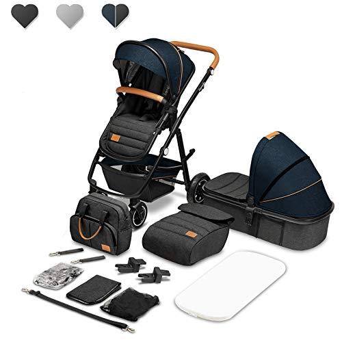 Lionelo Amber Coche de bebé multifuncional 2 en 1 Conjunto silla de paseo con el Asiento de Cubo e Capazo Manillar regulable Bolsa Mosquitero Protector de lluvia (Azul)