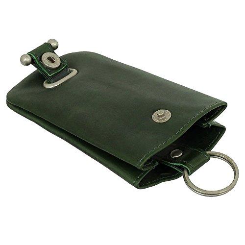 Leder Schlüsselglocke Schlüsseletui Schlüsseltasche Schlüsselmappe Schlüsselbeutel Farbe grün