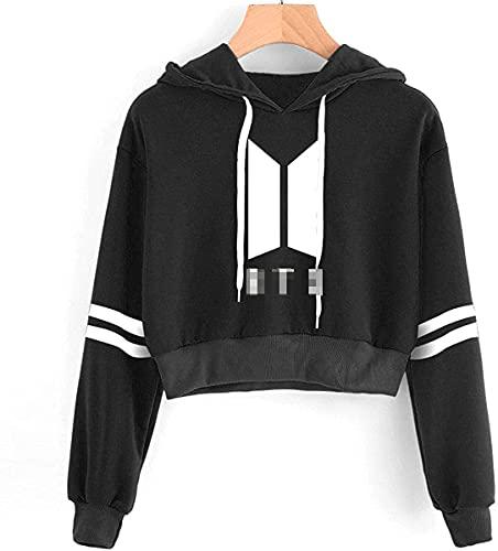 SIMYJOY KPOP Korea Pop Suéter Letras Sudaderas con Capucha Crop Top Sudadera Jersey...